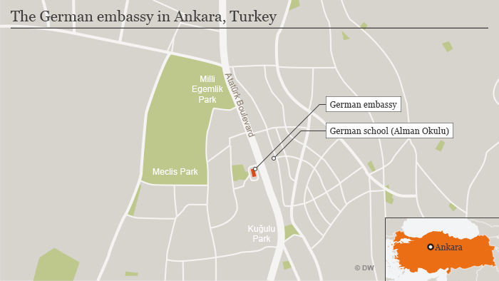 Map of Ankara, showing the German embassy and German school's locations