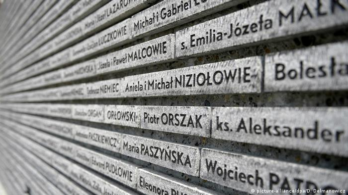Memorial Wall with names of Poles who saved Jews during WWII