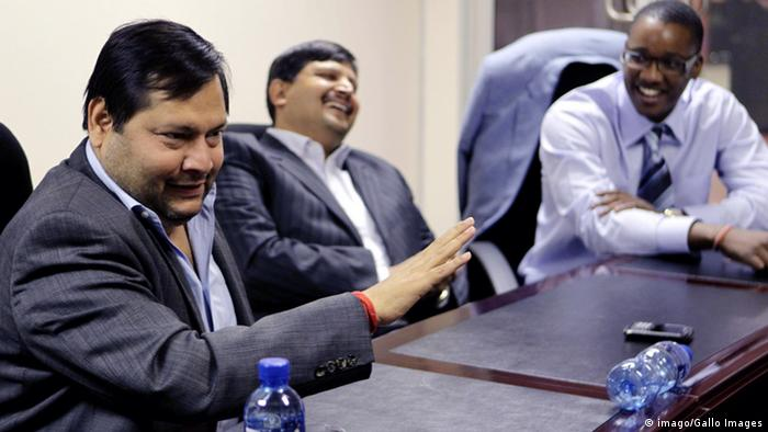 Businessmen Ajay and Atul Gupta, and Sahara director, Duduzane Zuma speaking to media