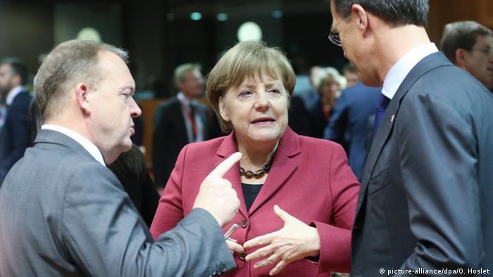Belgien EU-Gipfel Angela Merkel Lars Lokke Rasmussen und Mark Rutte