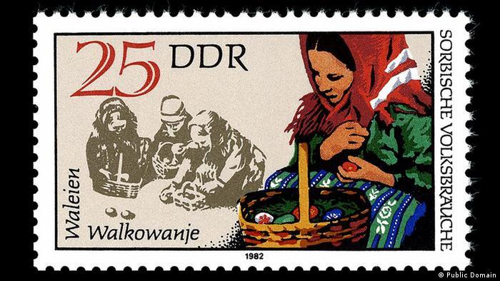 Почтовая марка ГДР, посвященная традициям лужицких сербов