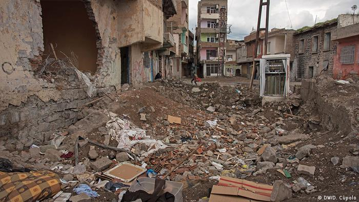 A bomb crater in Diyarbakir's Sur district, where fighting has been ongoing since December