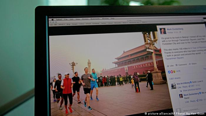China Beijing Mark Zuckerberg Facebook Jogging