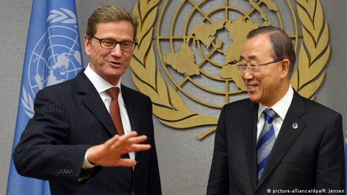 Picture of Guido Westerwelle with UN Secretary-General Ban Ki Moon