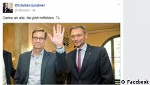 Screenshot Facebookseite von Christian Lindner
