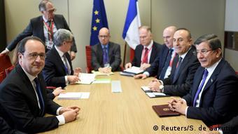 главы стран ЕС и Турции на экстренном саммите в Брюсселе, 18 марта 2016