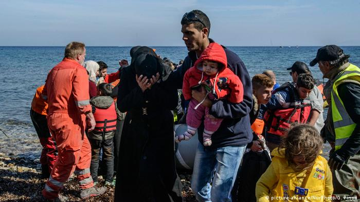 Refugees arriving in Lesbos