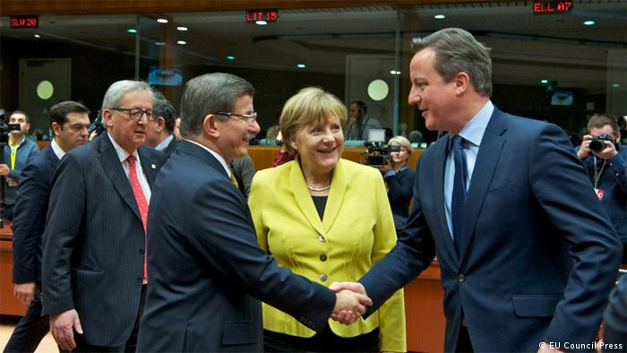 From left to right: EU Commission President Jean-Claude Juncker, Turkish Prime Minister Ahmet Davutoglu, German Chancellor Angela Merkel and UK Prime Minister David Cameron Source: EU Council Press