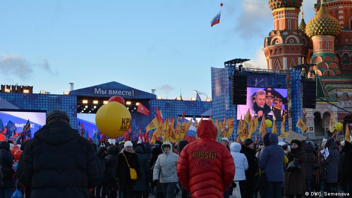 Russians celebrating the annexation of Crimea in Moscow