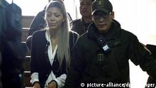 Gabriela Zapata Montano, former girlfriend of Bolivian President Evo Morales, leaves a court room in La Paz, Bolivia, 28 February 2016. A Bolivian judge ordered preventive prison to Gabriela Zapata Montano, accussed of illicit gains and influence peddling. EPA/STR/Best quality available picture-alliance/dpa/Stringer