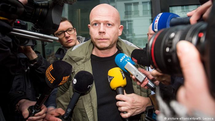 Salah Abdeslam's lawyer Sven Mary addressing reporters in Brussels