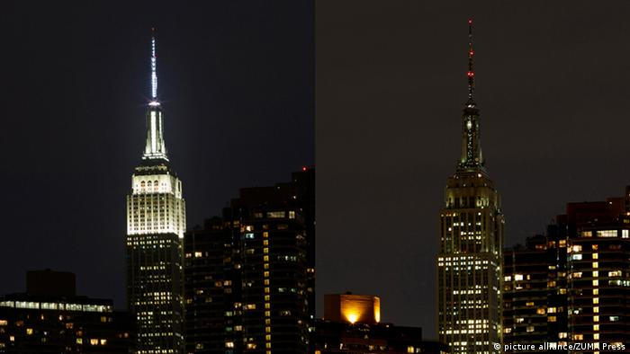 USA Earth Hour New York Empire State Building mit und ohne Beleuchtung (Foto: dpa)