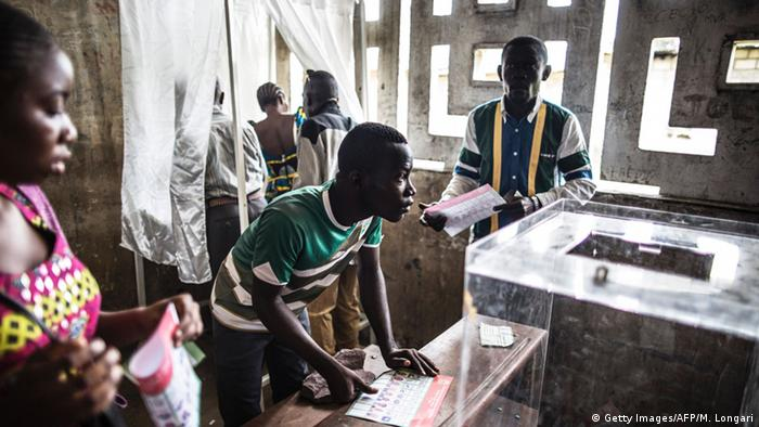 People at a polling station at Brazzaville in the Republic of Congo
