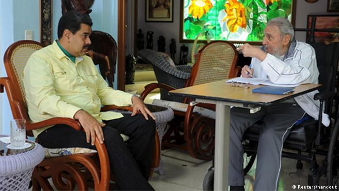 Nicolas Maduro und Fidel Castro im Gespräch in Havanna Kuba (Foto: Reuters)