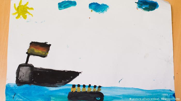Deutschland Hameln gemaltes Bild eines irakischen Flüchtlingskindes