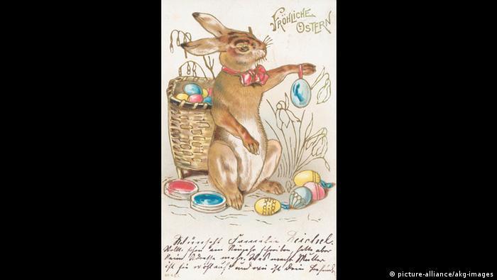 Osterhase auf Postkarte von 1903