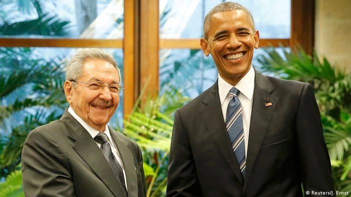Am 21. März 2016 trifft Barack Obama Kubas Staatschef Raúl Castro in Havanna