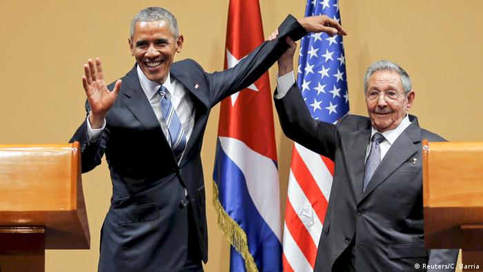 Ex-US President Barack Obama and Cuban President Raul Castro in Havana, March 21, 2016.