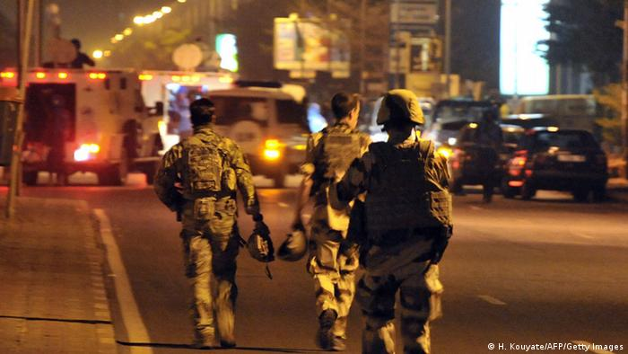 European soldiers patrol in the streets of Bamako