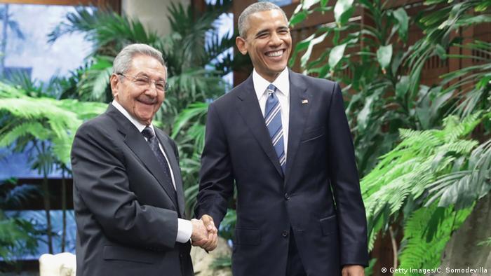 باراک اوباما و رائول کاسترو در هاوانا