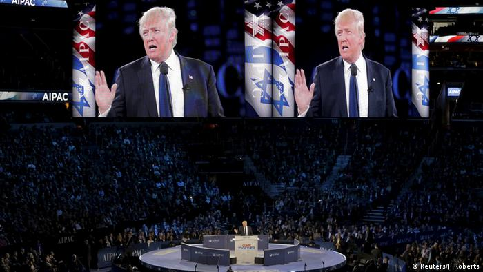 Donald Trump speaks before delegates at the annual AIPAC conference; United States