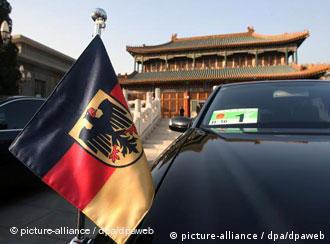 A car with a German flag in front of the office of Chinese Premier Wen Jiabao