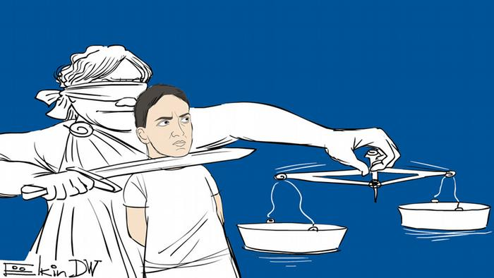 Karikatur zu Urteil Militärpilotin Nadija Sawtschenko