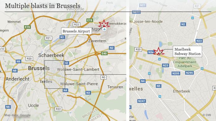 Karte Infografik Mehrere Explosionen in Brüssel Englisch