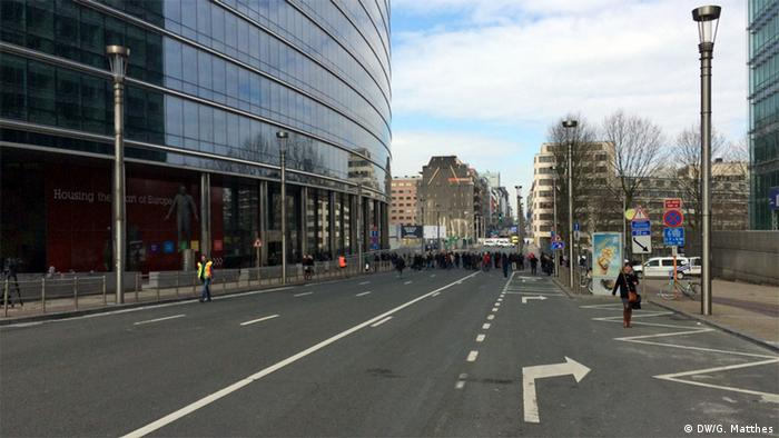 blocked road leading to the EU commission headquarter