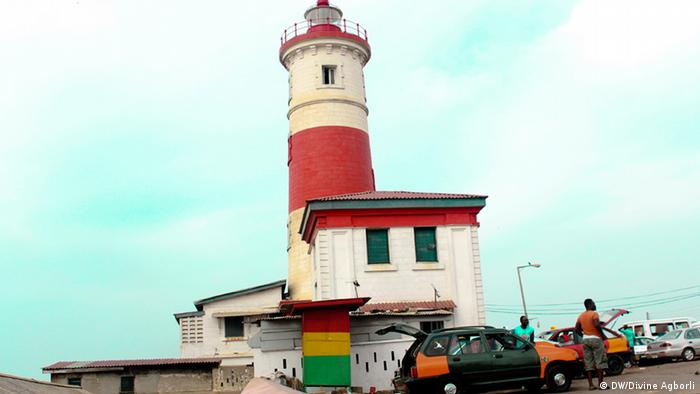 Accra's red and white iconic light house