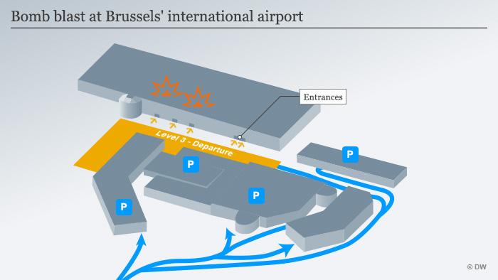 Infografik Explosionen in Brüssels Flughafen englisch