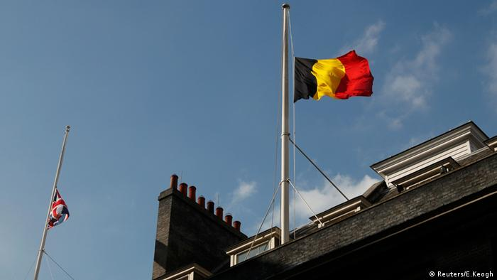 Belgium's flag flying at half-mast in London.