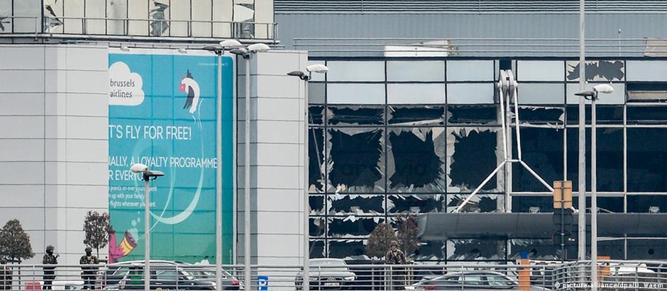 Local das explosões no aeroporto, em 22 de março