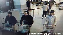 22.03.2016 *** This screengrab, released by the federal police on demand of the Federal prosecutor shows three suspects of this morning's attacks at Brussels Airport, in Zaventem, Tuesday 22 March 2016. Two explosions in the departure hall of Brussels Airport this morning took the lives of 14 people, 81 got injured. Government sources speak of a terrorist attack. The terrorist threat level has been heightened to four across the country. BELGA PHOTO FEDERAL POLICE Copyright: picture-alliance/dpa/Federal Police