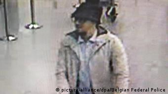 Airport CCTV footage, from the morning of March 22, showing the as-yet unidentified suspect dubbed the man in the hat.