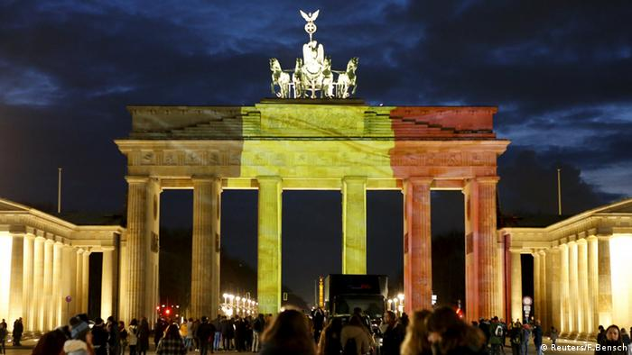 Berlin's Brandenburg Gate in the colors of the Belgian flag.