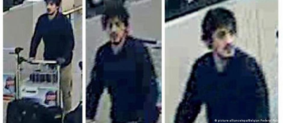 Imagem atribuída a um dos irmãos El Bakraoui no aeroporto de Bruxelas, divulgada pela polícia belga