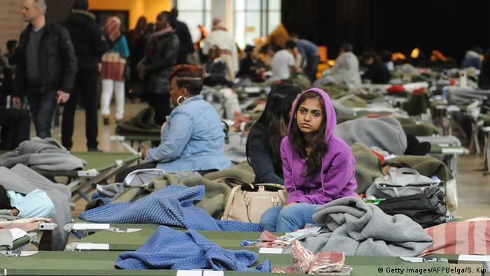 People in emergency shelter in Brussels