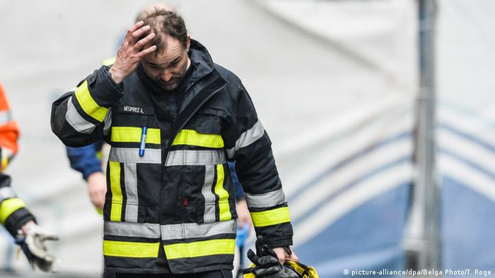 member of a civil protection brigade in the area of the explosion at the Maelbeek
