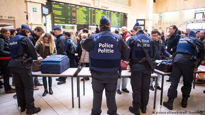 baggage checks at Brussels central station