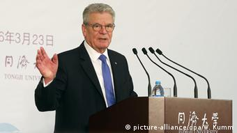 Bundespräsident Joachim Gauck in China (picture-alliance/dpa/W. Kumm)
