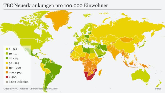 Infografik TBC Neuerkrankungen pro 100.000 Einwohner Deutsch