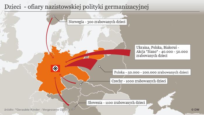 Infografik Karte der Kinderverschleppung Polnisch