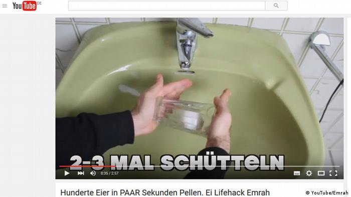 Screenshot aus einem YouTube-Video zum Thema 'Eierschälen' (Copyright: YouTube/Emrah)