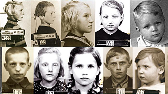 Retratos de crianças polonesas sequestradas pelos nazistas