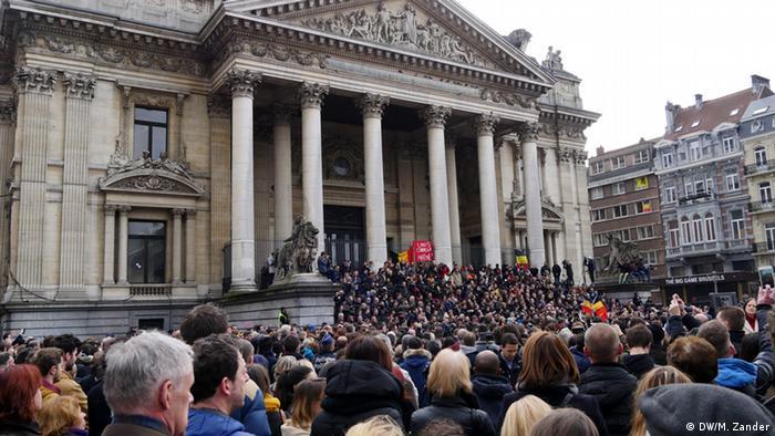 Belgien Brüssel Demonstration Schweigeminute Anschlag