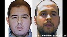 (c) picture-alliance/dpa/Interpol epa05227579 A composite picture made of handout pictures made available by Interpol on 23 March 2016 of Brahim El Bakraoui (L) Khalid El Bakraoui at an unspecified location. Belgian broadcaster RTBF reported on 23 March 2016 that two brothers Khalid and Brahim el-Bakraoui have been identified by Belgian police as the suspected suicide bombers of the Brussels attacks. One of them, Khalid had rented an apartment using a false name in the Brussels neighborhood of Forest, where police killed a gunman in a shootout last week. The attacks at the main airport and in the metro in Brussels killed 34 people and wounded nearly 200 on Tuesday. EPA/INTERPOL / HANDOUT BEST QUALITY AVAILABLE HANDOUT EDITORIAL USE ONLY/NO SALES HANDOUT EDITORIAL USE ONLY/NO SALES (zu dpa Bruderpaar steckt hinter Anschlägen - Auch Deutsche unter Opfern am 23.03.2016) +++(c) dpa - Bildfunk+++