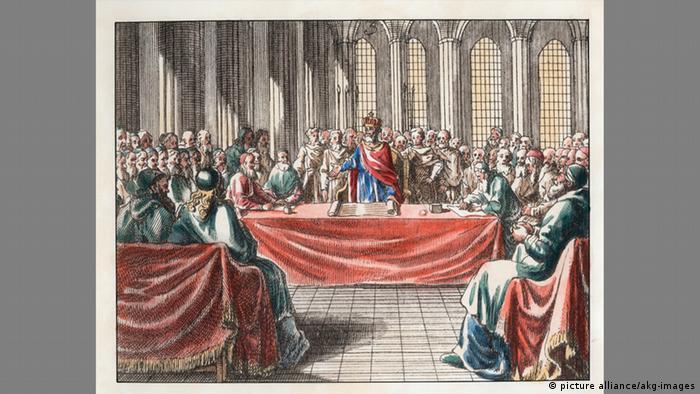 Bild vom Konzil zu Nicaea aus dem 18 Jh.