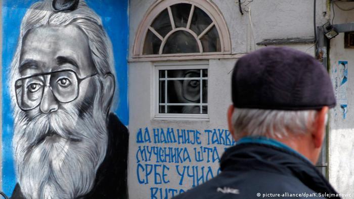 Serbien Belgrad Zeichnung an Wand von Radovan Karadzic