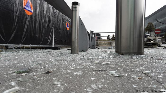 Wreckage seen at the terminal of Brussels' international airport in Zavantem, photo taken March 23, 2016.